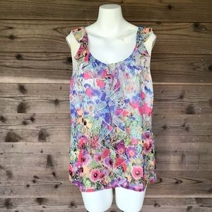 Chaus Sheer Lined Ruffle Front Floral Tank Sz 12
